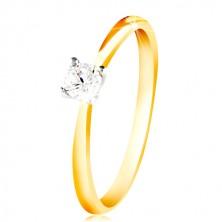 Anello in oro 14K - lati sottili, zircone chiaro in montatura in oro bianco