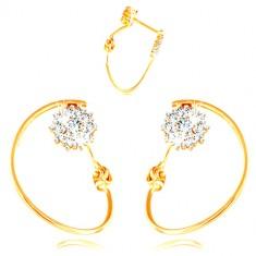 Orecchini in oro 585 - cerchio sottile, fiore in oro bianco e zirconi