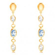 Orecchini in oro giallo 14K - ovali pendenti, zirconi in blu chiaro e chiari