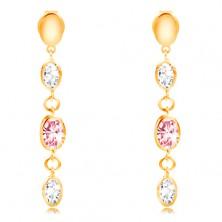Orecchini in oro giallo 585 - ovali pendenti, zirconi in color rosa e chiaro