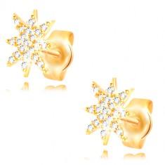 Orecchini in oro giallo 14K - stella brillante decorata con zirconi chiari