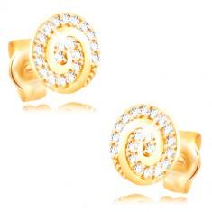 Orecchini in oro giallo 14K - cerchio decorato con spirale e zirconi chiari