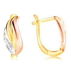 Orecchini in oro 585 - foglia brillante con zirconi, oro bianco, giallo e rosa