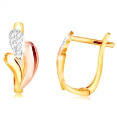 Orecchini in oro 585 - lacrime brillanti in oro giallo, rosa e bianco, zirconi