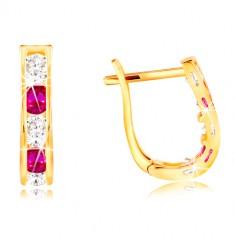 Orecchini in oro giallo 14K - archi in zirconi chiari e rosa