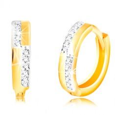Orecchini tondi in oro 14K - strisce lisce in zirconi chiari