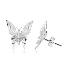 Orecchini in argento 925, farfalla con intagli incisi sulle ali