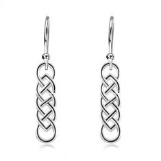 Orecchini in argento 925, nodo celtico allungato con linea nera, ganci