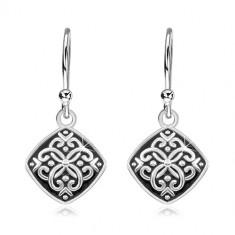 Orecchini pendenti in argento 925, rombo con smalto nero e ornamenti