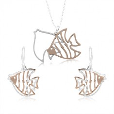 Set in argento 925, pesce inciso in color argento e rame