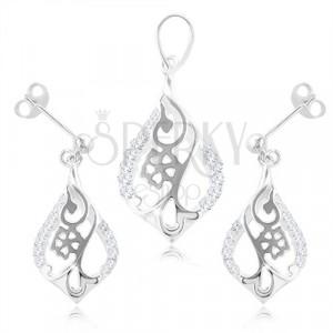 Set in argento 925, orecchini e ciondolo - fiore in contorno lacrima, zirconi chiari