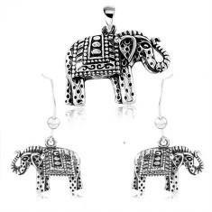 Set in argento 925, orecchini e ciondolo, elefante inciso con patina nera