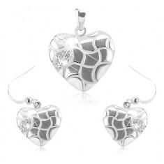 Set orecchini e ciondolo, argento 925, cuore con piccoli intagli e zirconi