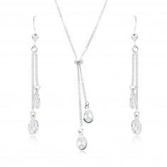 Set in argento 925 - collana e orecchini, ovali in zirconi chiari sulle catene