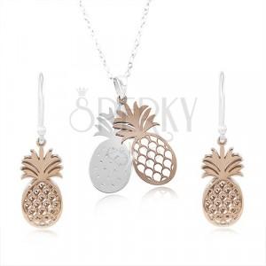 Set in argento 925, ananas doppio in color argento e rame