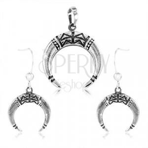 Set in argento 925 - orecchini e ciondolo, anello incompleto decorato con raggi