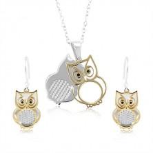 Set in argento 925, gufo doppio in color argento e dorato