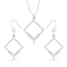 Set orecchini e collana - argento 925, contorno rombo, zirconi chiari, intagli