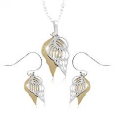 Set in argento 925, conchiglia doppia in color dorato e argento