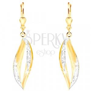 Orecchini pendenti in oro 585 - contorno grano curvo con filigrana e oro bianco