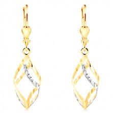 Orecchini in oro 14K - spirale brillante in due colori con piccoli intagli