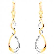 Orecchini in oro 14K in due colori - lacrima brillante in due colori