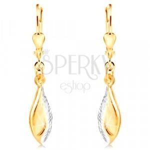 Orecchini in oro 14K - foglia brillante decorata con intagli e oro bianco