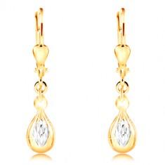 Orecchini in oro 14K - lacrima brillante, rombo opaco in oro bianco