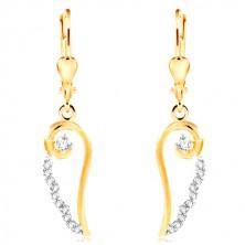 Orecchini in oro 14K - contorno ala d'angelo con zirconi chiari, rotondi