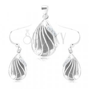 Set in argento 925 - ciondolo e orecchini, lacrima incisa con zirconi chiari