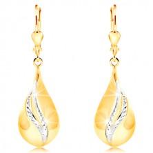 Orecchini in oro 14K - grande lacrima lucida, strisce curve in oro bianco