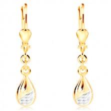 Orecchini in oro 14K - lacrima brillante con parte opaca in oro bianco