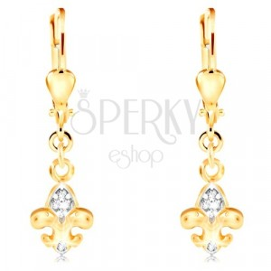 Orecchini in oro 14K - simbolo Fleur de Lis in due colori, zirconi chiari