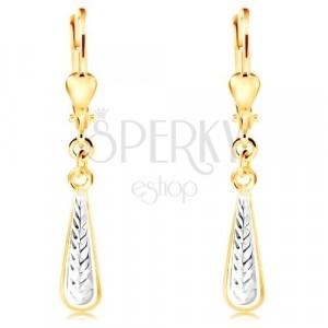 Orecchini pendenti in oro 14K - lacrima sottile con intagli e oro bianco
