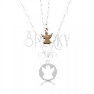 Due collane in argento 925 - cerchio con intaglio angelo e angelo in color rame