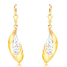 Orecchini in oro 14K - grande foglia curva, striscia in oro bianco con intagli