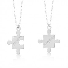 Collane in argento 925 - pezzi di puzzle con scritte MOM and Daughter