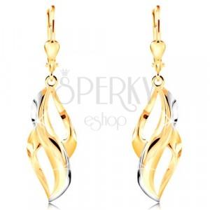 Orecchini in oro 585 - foglia curva con strisce in oro bianco e due ritagli