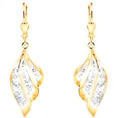 Orecchini in oro 585 in due colori - ala d'angelo in due colori con ornamenti