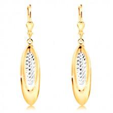 Orecchini in oro 14K - ovale pendente decorato con piccoli intagli e oro bianco