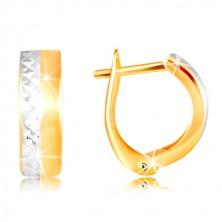 Orecchini in oro 14K - striscia opaca, liscia in oro giallo, linea in oro bianco
