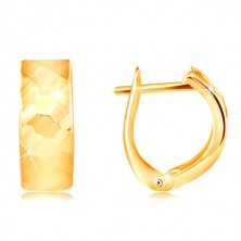 Orecchini in oro 14K giallo - superficie brillante con intagli lucidi
