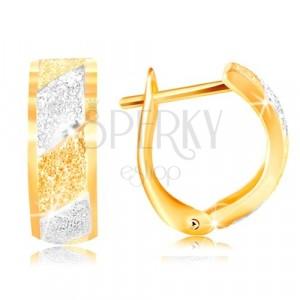 Orecchini in oro 585 - strisce brillanti in oro giallo e bianco