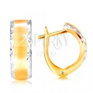 Orecchini in oro 14K - arco brillante con bordi smussati in oro bianco