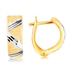 Orecchini in oro 14K - superficie brillante con linea a zig-zag in oro bianco
