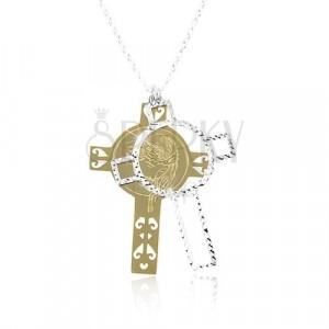 Collana in argento 925, croce incisa in color argento e dorato