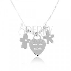 """Collana in argento 925, cuore con scritta """"Love you MOM"""", ragazzo e ragazza"""