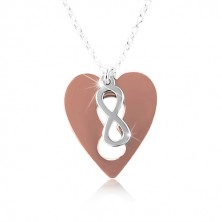Collana in argento 925 - cuore color rame con simbolo INFINITY
