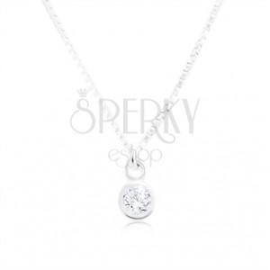 Collana in argento 925, catena brillante con maglie angolari, zircone chiaro