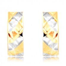 Orecchini in oro 585 -  strisce in oro giallo e bianco, ritagli brillanti